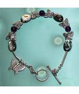 Silver OOAK Abalone and Amethyst Butterfly Bracelet - $45.00