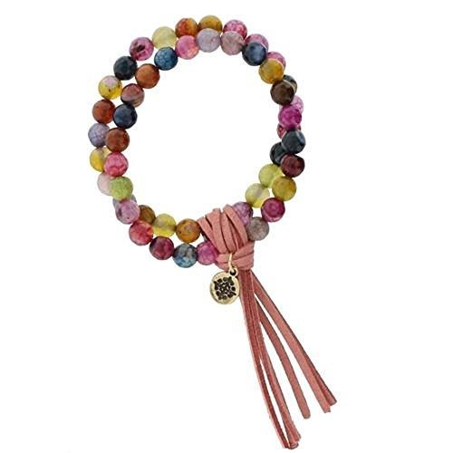 Stretch Double Strand Multi Color Beaded Bracelet with Pink Leather Tassel