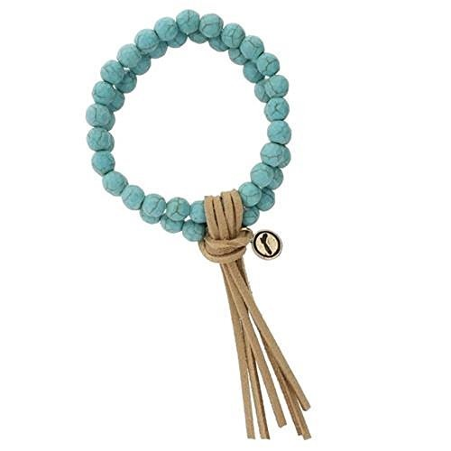 Stretch Double Strand Turquoise Beaded Bracelet with Light Brown Leather Tassel