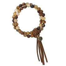 Stretch Double Strand Brown Beaded Bracelet with Dark Brown Leather Tassel