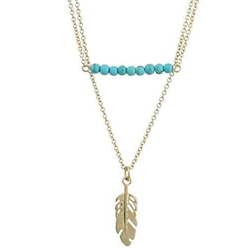 Worn Gold Two Row Turquoise Bar and Feather Charm Necklace [Jewelry]