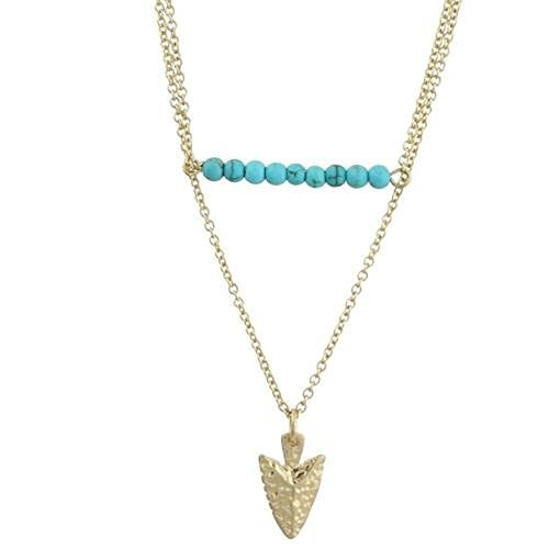 Worn Gold Two Row Turquoise Bar and Arrow Charm Necklace [Jewelry]