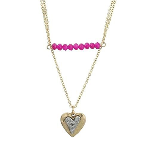 Worn Gold Two Row Fuschia Bar and Heart Charm Necklace [Jewelry]