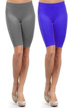 Fashion Mic Women Knee Length Seamless Biker Exercise Shorts (One Size, 2 pac... - $10.88