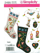 Simplicity 2495 Scandinavian Felt Embroidery Stocking Ornaments Pattern - $12.95