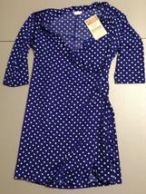 Women's Full Circle Dress Size Large Blue White polka Dot Empowering Women - $16.65