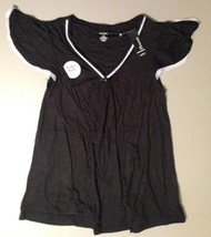 Women's Short Sleeve Pajama Top Size Small Black Lace - $9.79