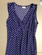 Women's Full Circle Dress Size Small Blue White polka Dot Empowering Women - $16.65