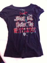 Meet Me Under The Mistletoe Tee Black; Large - $6.85