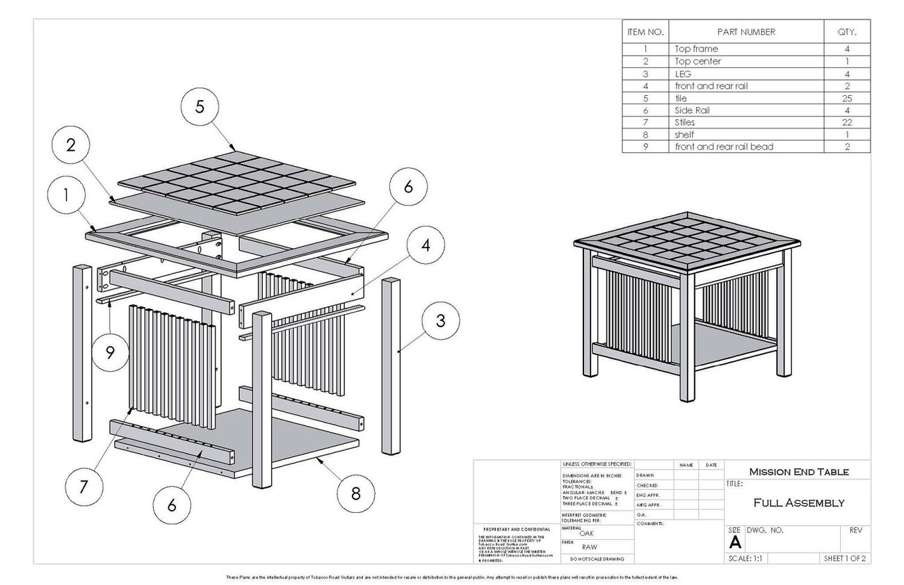 Mission style end table plans and instructions tables for Mission style end table plans
