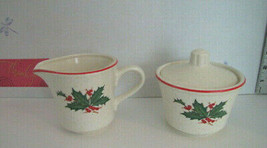 Holly Berry Christmas Cream & Sugar Set Stoneware see full desc. - $9.74