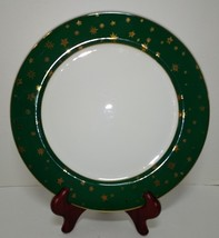 "Sakura Galaxy 10.75"" Porcelain Dinner Plates Green Rim 14K Gold Stars - $9.74"