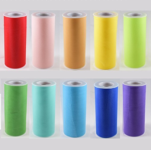 Craft and Party 10 Colors Tulle Assortment, Tulle Rolls Tulle Netting Rolls Tull
