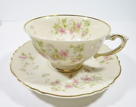 Syracuse Stansbury Footed Cup & Saucer Set  Pink Rose Flowers Gold Trim VTG - $12.18