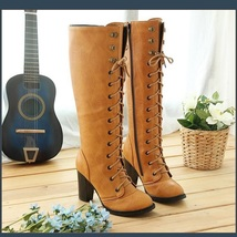Camel Knee High Nubuck Leather Lace-Up Medium High Heel Boots  image 1
