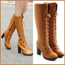 Camel Knee High Nubuck Leather Lace-Up Medium High Heel Boots  image 2