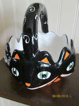 HALLOWEENCERAMIC  DISH BLACK CAT HANDLE - $17.98