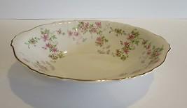"Syracuse Stansbury 9"" Oval Serving Bowl Pink Flowers Gold Trim Rimmed VTG - $17.58"