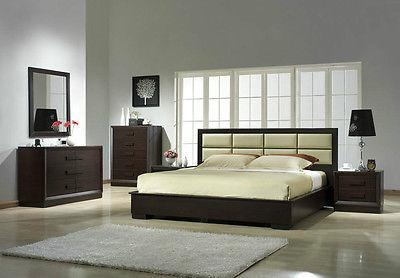 J&M Chic Modern Boston Beige Leather & Brown Finish Platform Bed Set King Size