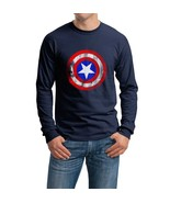 Captain america shield Long Sleeve Men Tee Color NAVY - $21.00+