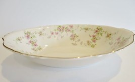"Syracuse Stansbury 10"" Oval Serving Bowl Pink Flowers Gold Trim Rimmed VTG - $21.48"
