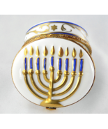 Limoges Box - Gold Menorah - Judaica - Rochard - Hanukkah - Hand Painted - $92.00