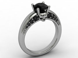 Skull Enagement Ring 14 KT with Genuine Black D... - $579.00