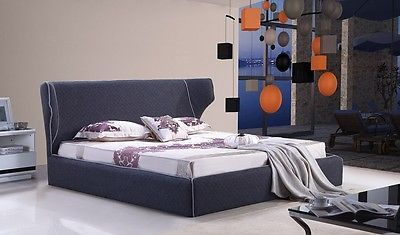 J&M Chanelle Queen Size Platform Bed Contemporary Modern Style Grey LooK
