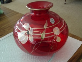 FENTON FLORAL FANTASY ON RUBY VASE - $74.95