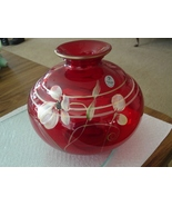 FENTON FLORAL FANTASY ON RUBY VASE - $84.95