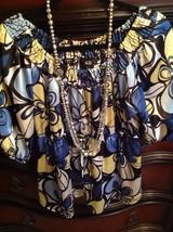 AGB SATIN BLUE Flower Women's BLOUSE MED - $15.35