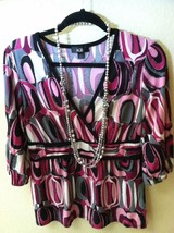 AGB V NECK BLOUSE PINK AND BLACK LARGE - $12.86