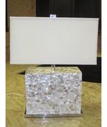 SHELL TILE & CHROME Table Lamp, Modern Beach Co... - $399.00