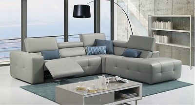 J&M S300 Sectional Sofa Gray Full Top Grain Italian Leather Chic Modern Right