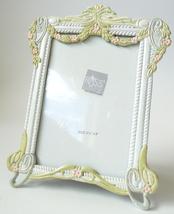 Victorian style vintage photo frame cast metal roses boudoir white green... - $15.00