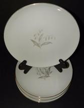 "4 Kaysons Golden Rhapsody 9"" Dinner Plates China White Gold Rim 1960's J... - $39.59"