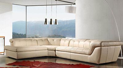 J&M 397 Full Top Grain Italian Leather Sectional Sofa Chic Modern Beige Left