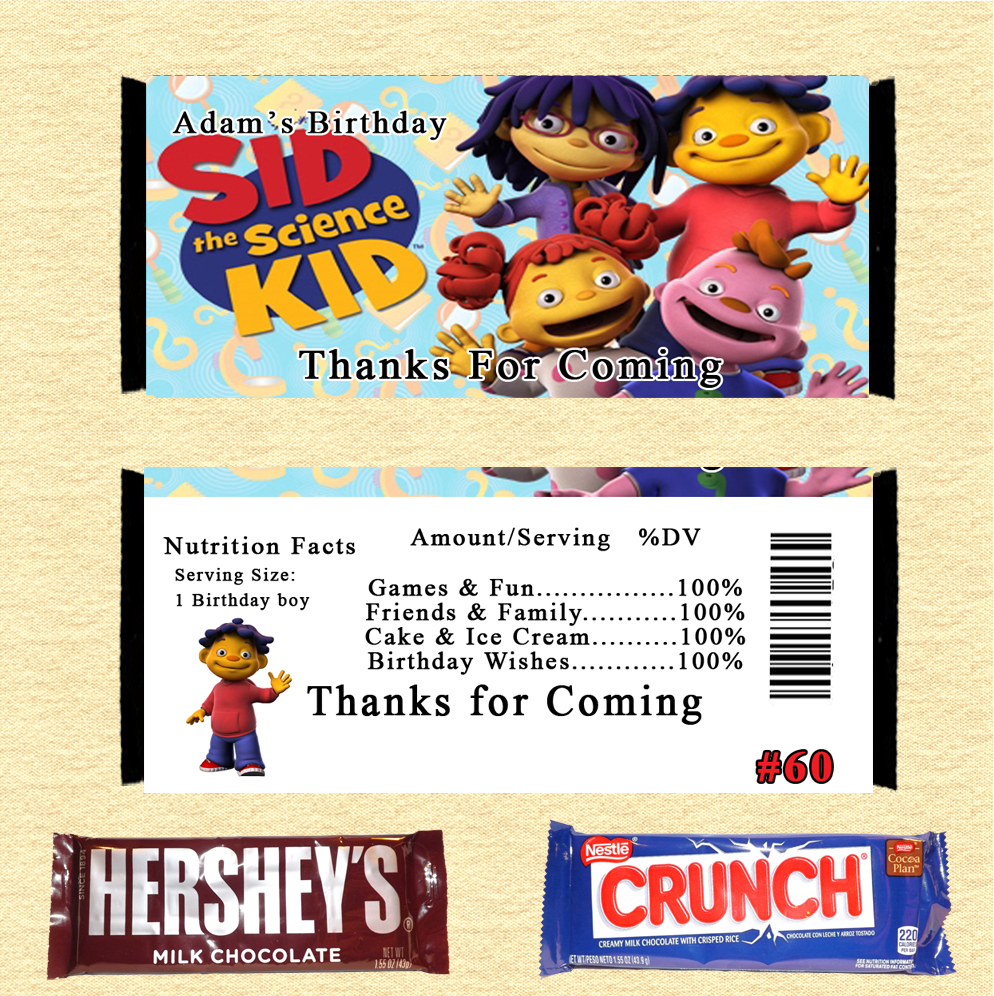 Groovy Sid The Science Kid Birthday Candy Wrappers And 50 Similar Items Funny Birthday Cards Online Inifofree Goldxyz