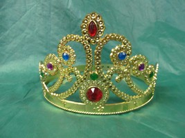 QUEEN'S CROWN GOLD WITH JEWELS WRAP AROUND SIZING - $4.50