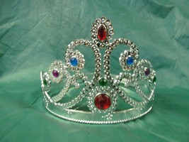 QUEEN'S CROWN SILVER WITH JEWELS WRAP AROUND SIZING - $4.50