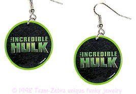 Funky INCREDIBLE HULK LOGO EARRINGS-Comics Character Super-Hero Costume ... - $4.97