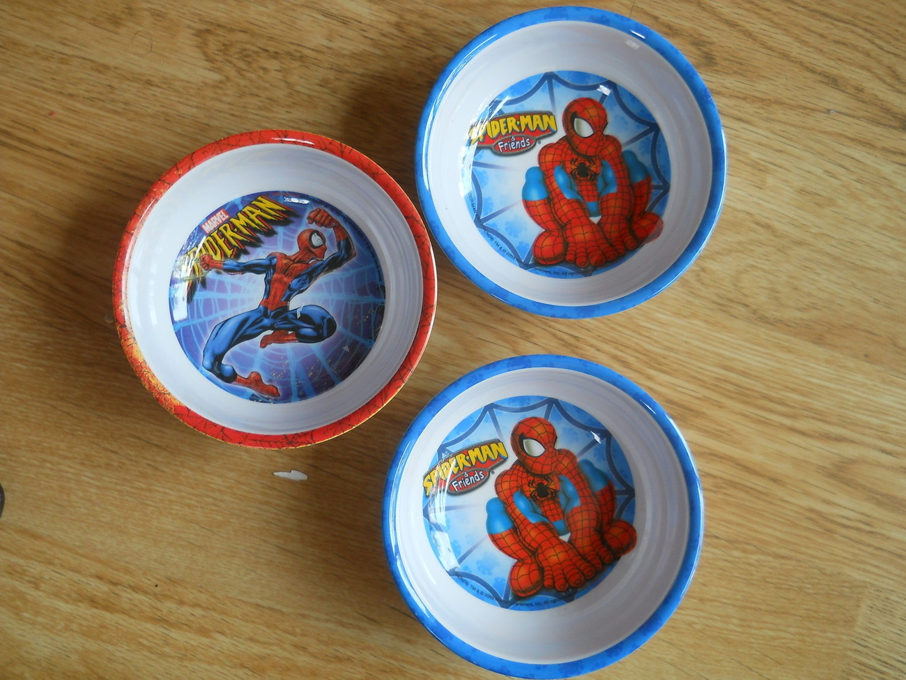 Set of 3 SPIDER-MAN & Friends Marvel Comics Melmac Kids Bowls Melamine EUC Lot