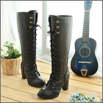Black Knee High Nubuck Leather Lace-Up Medium High Heel Boots