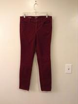 Ann Taylor LOFT Maroon Corduroy Modern Skinny Stretch Cotton Pants, size 30/10