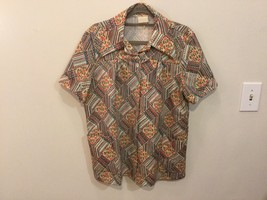 Vintage Square Patterned Button Down Shirt, no size tag (see measurements)
