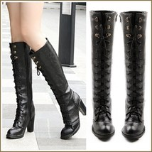 Black Knee High Nubuck Leather Lace-Up Medium High Heel Boots  image 2