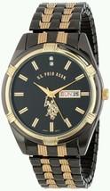 U.S Polo Men's Gun Metal Day Date Black Gold Dial Dress Watch Elegant Ge... - $1.584,50 MXN
