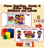 Sid The Science Kid Birthday Favor Bag Water Bottle Candy Sticker 1 Shee... - $5.00