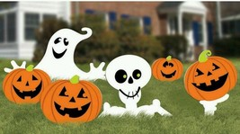 Halloween Yard Sign Kit Skeleton Pumpkins Ghost Jack O Lanterns Lawn Sta... - £31.99 GBP