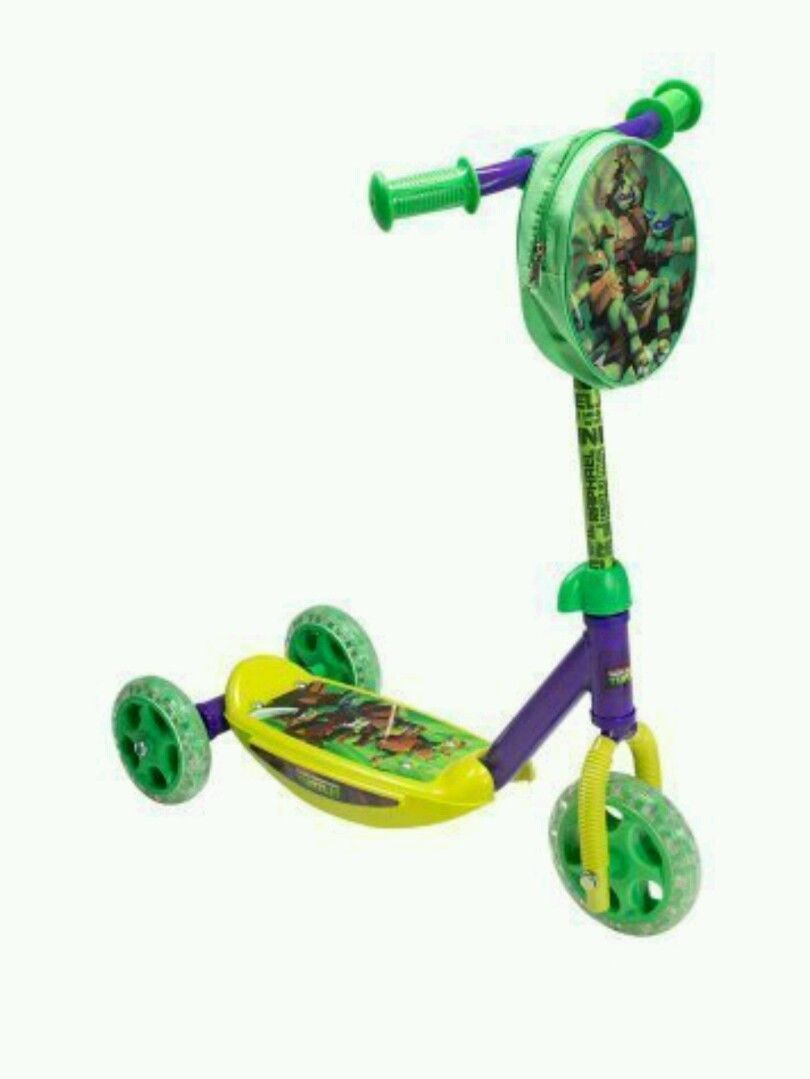 Teenage Mutant Ninja Turtles 3-Wheel Trike Scooter Pouch Kids Boys Green Ride